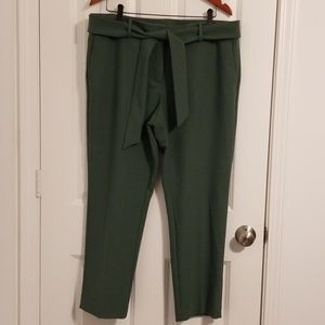 Loft - Olive Green Belted Dress Pants